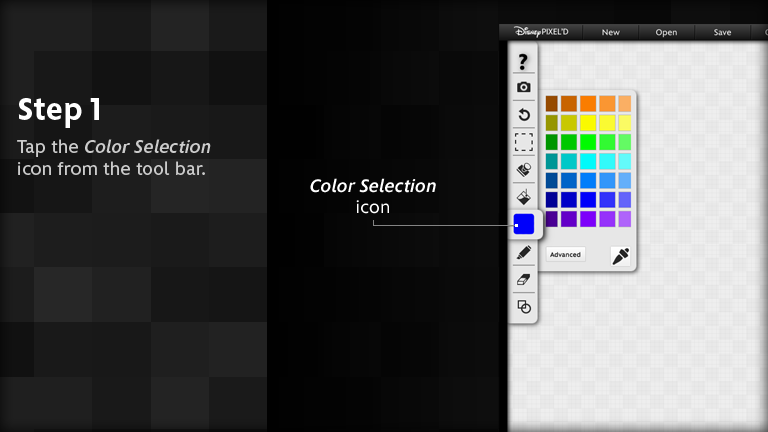Tap the 'Color selection' icon from the tool bar.