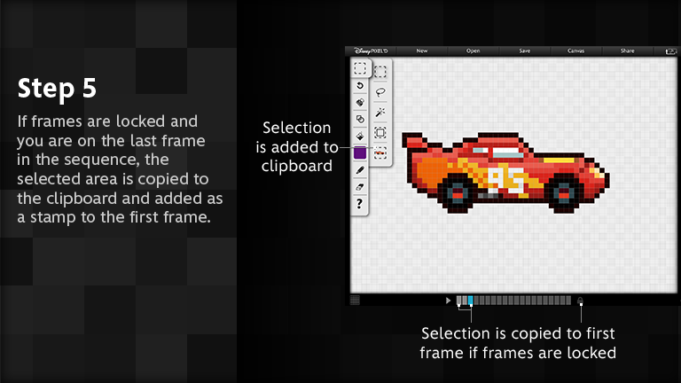 If frames are locked and you are on the last frame in the sequence, the selected area is copied to the clipboard and added as a stamp to the first frame.