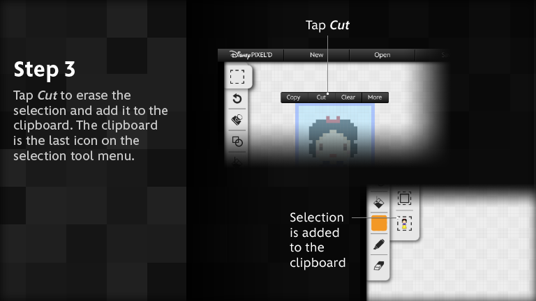 Tap Cut to erase the selection and add it to the clipboard.  The clipboard is the last icon on the selection tool menu.