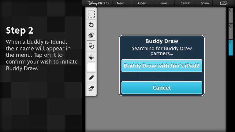 When a buddy is found, their name will appear in the menu. Tap on it to confirm your wish to initiate Buddy Draw.