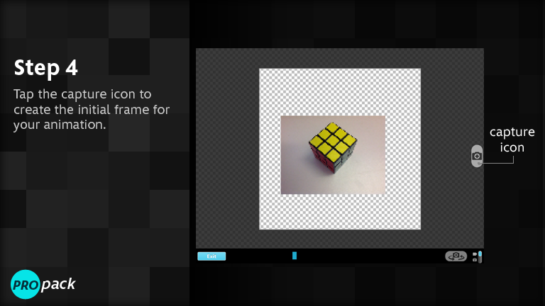 Tap the capture icon to create the initial frame for your animation.