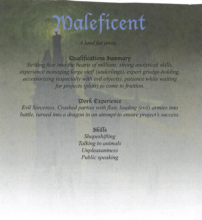 Disney Villain resume Maleficent from Sleeping Beauty
